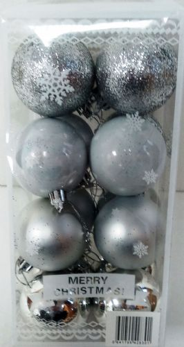 BAUBLE 16 PACK Silver